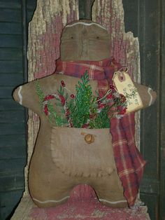 "Primitive Grungy 12"" Gingerbread Man Christmas Winter Doll Ro's Attic Psah 