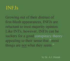 """#INFJ - distrust from experiences (check), """"most things are NOT as they seem"""" (Question EVERYTHING - check)"""