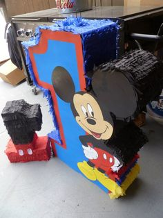 mickey mouse pinata with #1 with topper