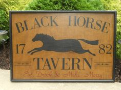 Primitive Black Horse Tavern Trade Sign Folk Art. via Etsy.