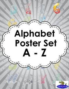 Alphabet Poster Set. A set of alphabet posters to hang in your classroom. There is one poster for each letter of the alphabet. Print them on cardstock and laminate for your classroom. Each poster has an uppercase and a lower case letter, a picture to represent the beginning sound, (vowels have two pictures for long and short), and a stylized letter with different fonts so children will recognize the letter when it is written in different styles.