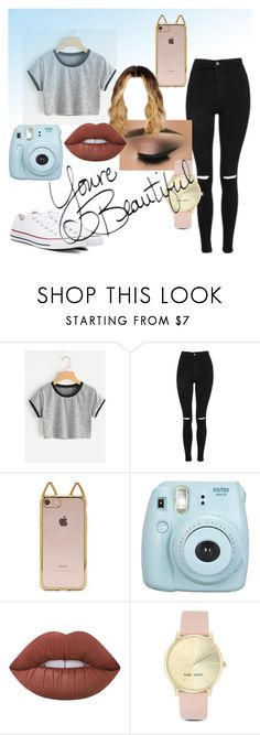 """""""•casual jean outfit•"""" by theresa-marie49 ❤ liked on Polyvore featuring Topshop, Forever 21, Fujifilm, Lime Crime, Nine West and Converse"""