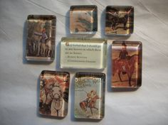 7 Vintage Horse Glass Magnets Hand made One of a by BadCatCraft
