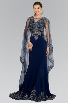 Long Evening Gown Prom Cape Dress - The Dress Outlet Navy Elizabeth K Bridesmaid Dresses, Prom Dresses, Formal Dresses, Chiffon Dresses, Dress Prom, Fall Dresses, Long Dresses, Couture Dresses, Fashion Dresses