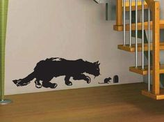 Hunting cat - wall decal