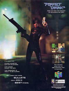 Retro ad for Perfect Dark on the 90s Video Games, Vintage Video Games, Classic Video Games, Video Game Art, Altered Carbon, Perfect Dark, Female Hero, School Videos, Retro Ads