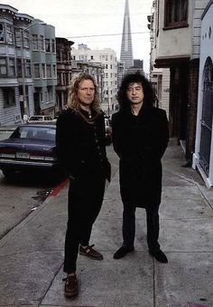 Jimmy Page & Robert Plant, San Francisco, October 1995. As best I can tell from where they're standing in relation to the Transamerica Building, this is a completely residential section of Clay Street just before Chinatown.
