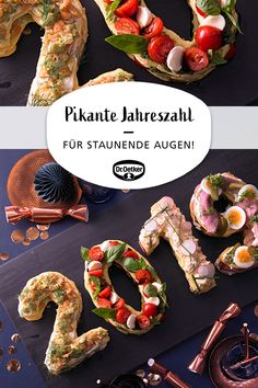 Pikante Jahreszahl Spicy year: baked hearty dough numbers at the turn of the year and New Year's Eve buffet with four types of filling Healthy Eating Tips, Healthy Foods To Eat, Healthy Snacks, Healthy Recipes, Seafood Recipes, Mexican Food Recipes, Snack Recipes, Healthy Appetizers, Appetizers For Party