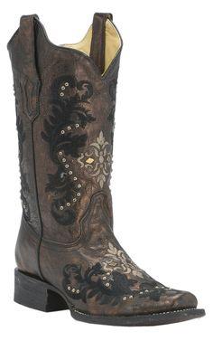 Corral® Women's Bronze/Black w/Cream & Black Embroidery & Studs Square Toe Western Boots