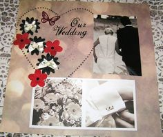 Use large or small heart, add flowers and butterflies with a general boquette picture/etc for front of wedding album entry page