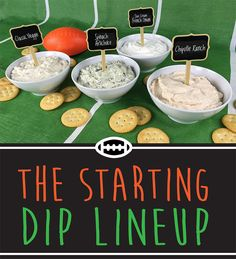 Creative dip presentation idea for parties and get-togethers. Cute way to inform people which dips are what. Great for football game days!