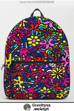 Flower Power Doodle Art Backpack by Back To School Shopping, High School, Back To School Backpacks, Colorful Backpacks, Backpack For Teens, Back To School Supplies, Candle Stand, New Pins, Theme Ideas