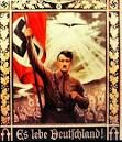 """This picture was a propaganda poster the nazis used to gain power. Hitler is portrayed holding the nazi flag with his soldiers behind him holding more flags. On the bottom of the poster it says """"Es lebe Deutfchland"""" which means long live Germany. It gave Hitler more power and gave his supporters more hope."""