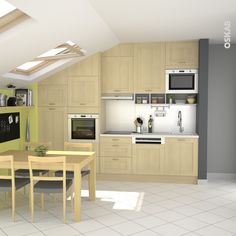 Cuisine familiale en bois verni, sous pente, plan de travail blanc mat, crédence inox, évier inox carré, carrelage blanc – www.oskab.com