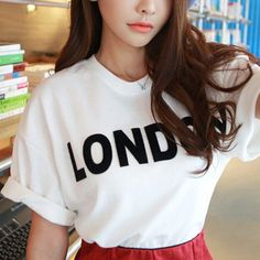 Wholesale Casual Round Neck Loose-Fitting Letter Print Short Sleeves Cotton T-Shirt For Women (WHITE,ONE SIZE), Women's T-shirts - Rosewholesale.com