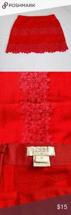 """J Crew Red Lace Mini Skirt J Crew Red Lace Mini Skirt  Zip closure on back No stains, rips, or tears  Measurement - Length- 16"""" J. Crew Skirts Mini"""