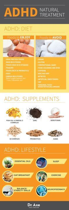 ADHD Natural Treatment Infographic Chart - From Dr. Axe -  Food is Medicine (Note: A balanced diet, sleep and exercise are key. Research is mixed on the benefits of many complementary treatments.)