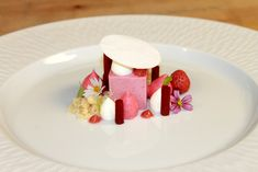 Rhubarb Strawberry Semifreddo, Mascarpone Mousse, Raspberry Glass, Starwberry Foam, Rhubarb Coulis, Shortbread Crumbs, Strawberry | by Pastry Chef Antonio Bachour