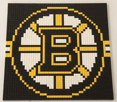 Bruins mosaic (lego, but could maybe be done with perler beads) Melty Bead Patterns, Loom Patterns, Beading Patterns, Cross Stitch Patterns, Knitting Charts, Knitting Patterns, Sports Quilts, Lego Mosaic, Beaded Banners
