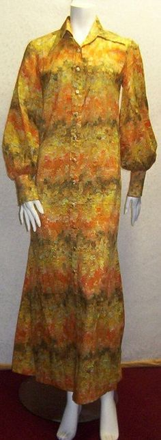 Vintage 60s 70s Maxi dress Small Yellow Print by Veryfinefinds, $459.99