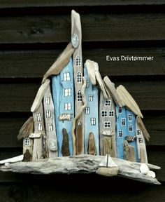 driftwood art, town, house, ligth blue, sea glass clock, seashells, sail boat made by EVAs
