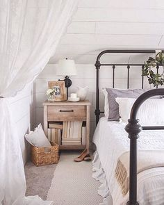 From One kingslane #OKLStyleTip: A lacy curtain, like this one from #smallspacestar @lizlovegrowswild's bedroom, makes an ethereal room divider perfect for shutting out the workweek (almost there!). #regram