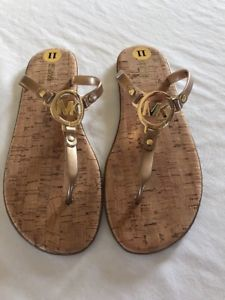 12f2f4f498fb NEW Pink MICHAEL KORS Rose Gold MK CHARM JELLY Cork FLIP FLOPS Sandals  Shoes 11