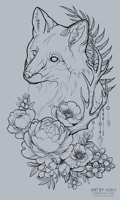 fox, Alisa Gornostaeva - ArtStation – fox, Alisa Gornostaeva You are in the right place about fox, Alisa Gornostaeva Tattoo - Art Drawings Sketches, Tattoo Sketches, Tattoo Drawings, Body Art Tattoos, Fox Tattoo Design, Tattoo Designs, Tattoo Ideas, Animal Tattoos, Fox Tattoos