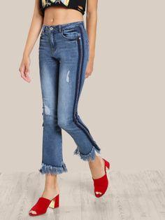 Raw Hem Denim Jeans DENIM