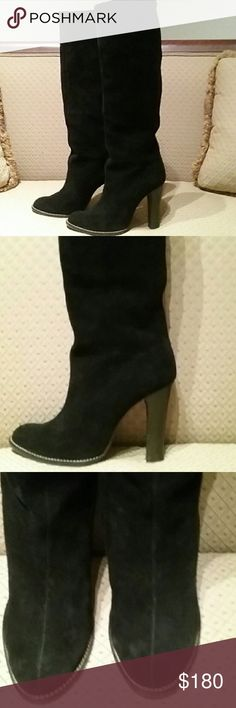 Custom Black Suede Boots Gorgeous black suede boots made in Spain by Leoncio Marques. Soft black suede with a 3-inch heel. Very very comfortable gently worn buy me. The back of one heel has a slight imperfection that you can hardly notice. You will find these boots in Spain I have not yet seen them in the US. This particular pair was custom-made for me personally. Leoncio Marques Shoes Heeled Boots