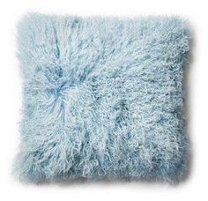 Mongolian 18x18 Lamb  Pillow, Ice Blue -- Snuggly soft in Mongolian lamb fur, this cushion is an inviting, chic accent. It's beautifully backed in microsuede to enhance the luxe look. Insert included. Made in Inner Mongolia. With a focus on the modern, eco-conscious lifestyle, pür creates beautiful cashmere, wool, and bamboo accents for the home and on the road. For pür, luxury is rooted not in excess but in simplicity, quality, and beauty.
