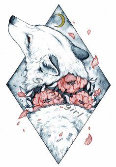 Moon child by Jonna Lamminaho (Scandy_girl) - Moon child by Jonna Lamminaho (Scandy_girl) - Tattoo Drawings, Cool Drawings, Body Art Tattoos, Fantasy Kunst, Fantasy Art, Wolf Tattoos, Anime Kawaii, Moon Child, Animal Drawings