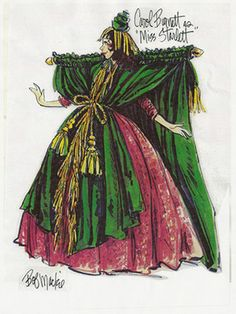 "Design for Carol Burnett as ""Miss Starlet"" in a parody of Gone with the Wind's infamous curtain dress scene. Design by Bob Mackie Fashion Kids, Urban Fashion, Fashion Art, Paper Fashion, Fashion Outfits, Theatre Costumes, Movie Costumes, Halloween Costumes, Bob Mackie"