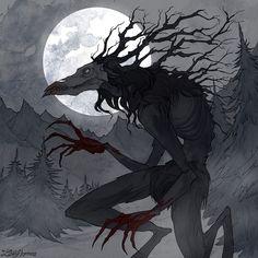 Wendigo Art Print by irenhorrors Monster Concept Art, Fantasy Monster, Monster Art, Dark Creatures, Mythical Creatures Art, Arte Horror, Horror Art, Creature Drawings, Animal Drawings