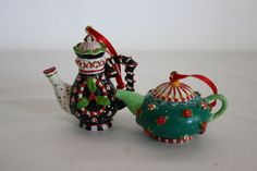 Lot of 2 Mary Engeilbreit Tea Pot Collectible Ornaments Peppermint Themed