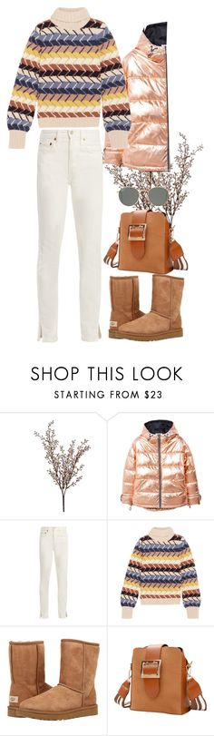 """""""street style #107"""" by veronicagnzlz ❤ liked on Polyvore featuring Wyld Home, MANGO, RE/DONE, Chloé, UGG Australia and Ray-Ban"""
