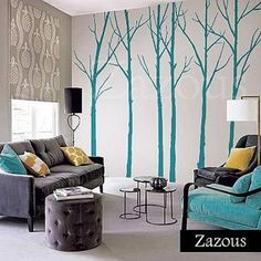 wall stickers: winter trees turquoise by zazous | notonthehighstreet.com