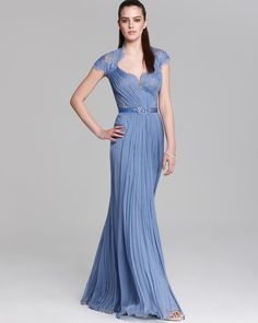 Blue/Grey/Periwinkle Mother of the Bride  Tadashi Shoji Lace Gown - Cap Sleeve Belted | Bloomingdale's