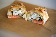 Smoked salmon, herbed goat cheese, and spinach empanadas!