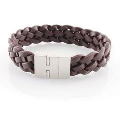 Schmuck-Juweliere.de - Armband Echt Leder braun 23cm - Edelstahl