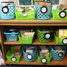 The Wild Rumpus: Classroom Decor: My Blue and Green Classroom love the different size baskets of the same colors