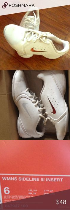 Size 6 white Nike shoes The shoes are is excellent condition where used for one cheer season and then never touched again. I will be cleaning then to make sure they are bleach white before handing them off to buyer. Nike Shoes Athletic Shoes