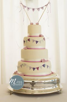 wedding cake with bunting by Miss Ingredient and handmade topper by Vintage Magpie