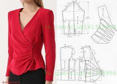Sewing Blouses, Sewing Shirts, Sewing Clothes Women, Modelista, Make Your Own Clothes, Dress Making Patterns, Simple Shirts, Blouse Outfit, Jacket Pattern