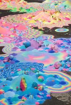 """Инсталляция """"Психоделические пейзажи из цветного песка"""" Автор Tanya Schultz"""