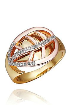XCrystal - Leaf Design Crystal Accent Ring in Two-Tone