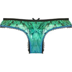 Roberto Cavalli Feather-print low-rise briefs ($58) ❤ liked on Polyvore featuring intimates, panties, lingerie, underwear, undergarments, beach, roberto cavalli, lingerie panty, underwear lingerie and bow panties