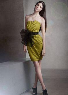 Short Draped Satin Dress with Sash Style VW360017