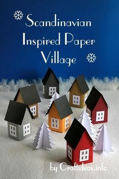 Scandinavian Inspired Paper Village...free template...
