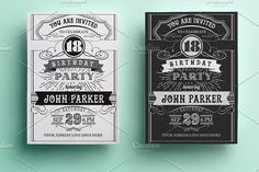Vintage Birthday Invitation by annago on @creativemarket